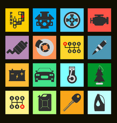 set of service car flat icon on black background vector image vector image