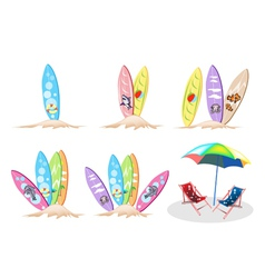 Set of Surfboards with Beach Chair vector image