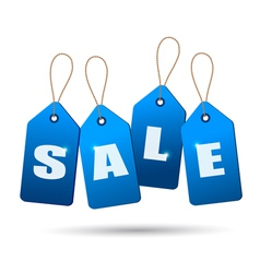 Blue sale tags Concept of discount shopping vector image vector image
