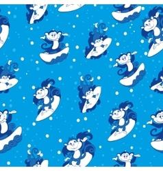 Blue Surfing Monkeys Seamless Pattern vector image
