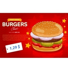 Burger sale banner template vector image vector image
