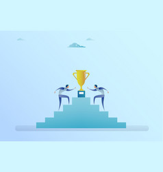 business people climbing stairs up to golden cup vector image vector image