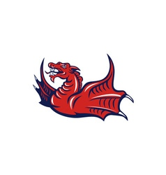 Chinese Red Dragon Angry Isolated Retro vector image