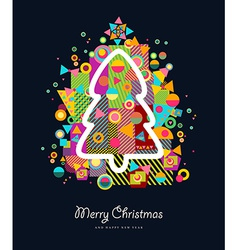 Christmas tree colorful retro greeting card vector image vector image