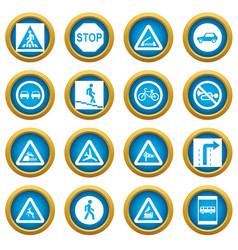 road sign set icons blue circle set vector image
