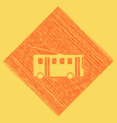 trolleybus sign red scribble icon vector image vector image