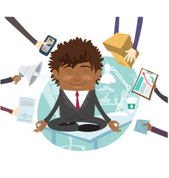 Black business man sitting calm on table vector