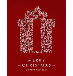 Merry christmas happy new year outline gift deco vector image vector image