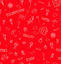 Valentines Day or wedding seamless doodle pattern vector image vector image