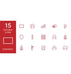 15 portrait icons vector