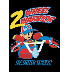 2 wheel warrior on a black background vector