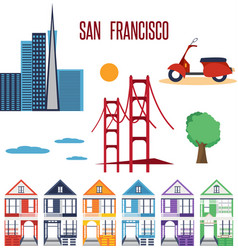 A set images on theme city san francisco home vector