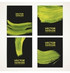Abstract black and yellow brush texture vector