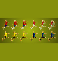 Abstract soccer players group a line up wearing vector