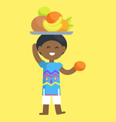 African boy with fruit set on head and in hand vector