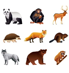 asian animals set vector image