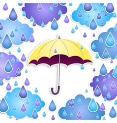 background with a yellow umbrella and drops vector image