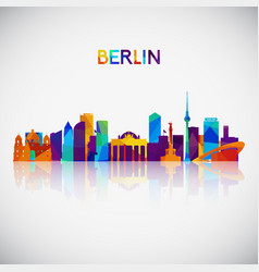 Berlin skyline silhouette in colorful geometric vector