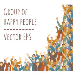 big group happy people frame isolate on white vector image