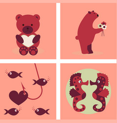 big valentines day set with cute funny animals vector image