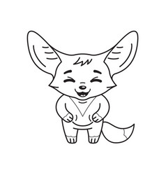 Black and white laughing fennec fox with paws vector