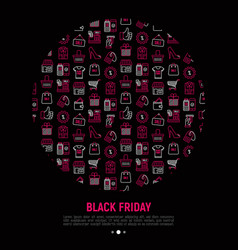 black friday sale concept in circle vector image