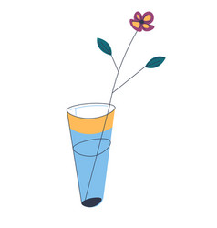 blooming flower in vase with water decorative vector image