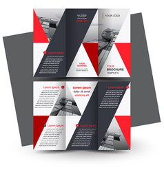 brochure design template tri-fold red triangles vector image