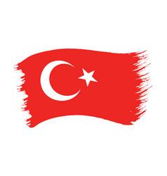 brushstroke painted flag turkey vector image