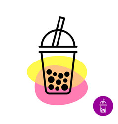 bubble tea colorful logo milk tea cup symbol with vector image