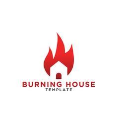 Burning house logo design template vector