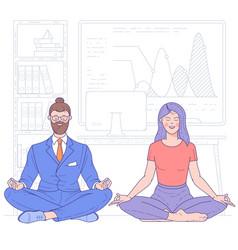 Business people doing yoga vector