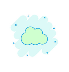 cartoon cloud icon in comic style cloud pictogram vector image