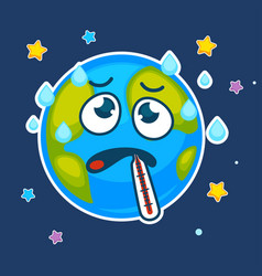 Cartoon earth planet ill with thermometer vector