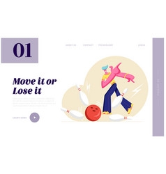 character throw ball hitting strike in bowling vector image