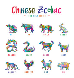 chinese zodiac animals low poly vector image
