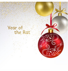 Christmas balls with symbol year a vector