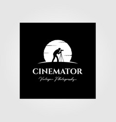 Cinematography photography vintage logo with moon vector