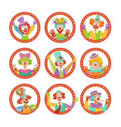 Clown faces set funny circus characters vector