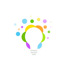 colorful light bulb from bubbles circles dots vector image