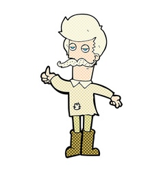 comic cartoon old man in poor clothes vector image