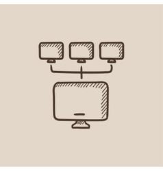 Computer network sketch icon vector image