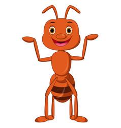 Cute ant cartoon waving vector
