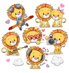 Cute cartoon lions on a white background vector