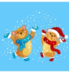 cute christmas bears during winter holidays vector image