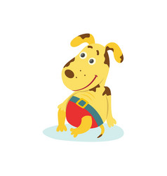 Cute funny puppy dog character in swimming pants vector