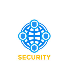 Cybersecurity icon logo element on white vector