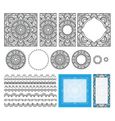 decorative square pattern set frames brushes vector image
