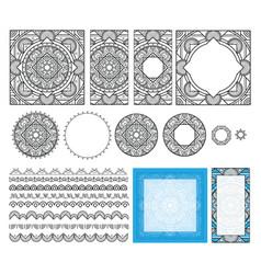 Decorative square pattern set frames brushes vector