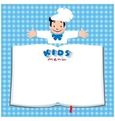 Design template for Kids Menu with funny cook boy vector image